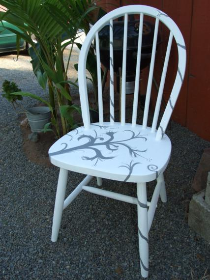 for the white chair i just free handed some swirly nature like